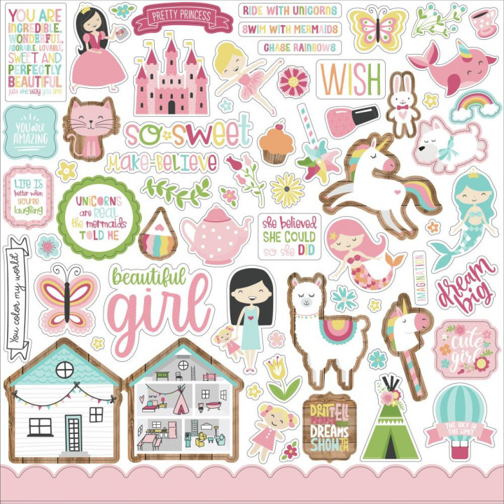 Наліпки Echo Park All Girl Cardstock Stickers Elements 30*30см