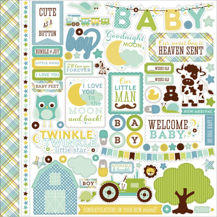 Наліпки Echo Park Bundle Of Joy A New Addition Baby Boy Cardstock Stickers Elements 30*30см