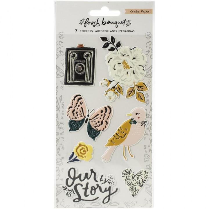 Наліпки Puffy Crate Paper Fresh Bouquet 10*15см
