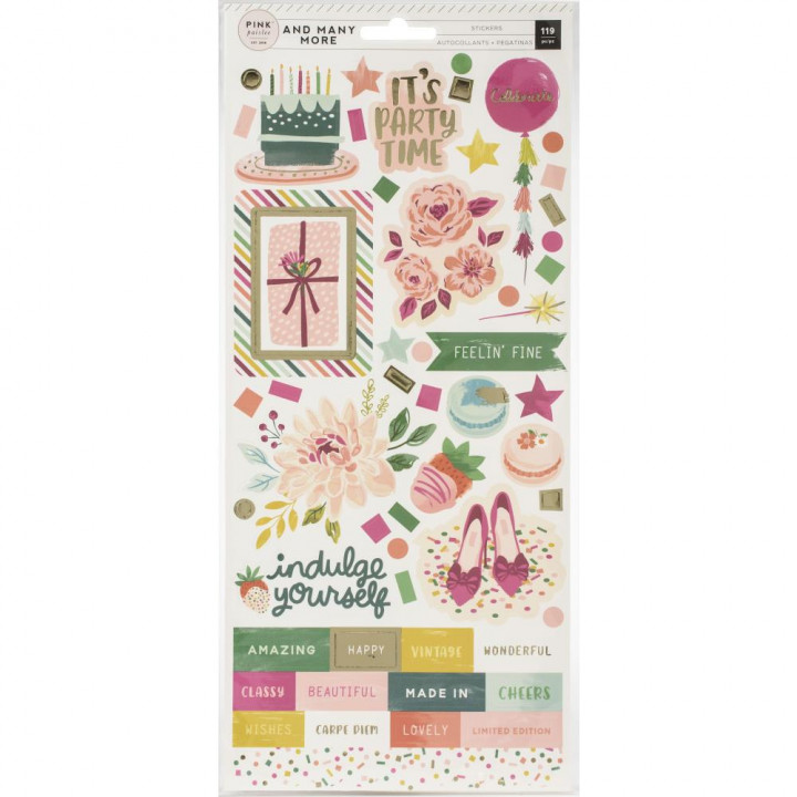 Наліпки Pink Paislee And Many More Cardstock Stickers Elements 15*30см