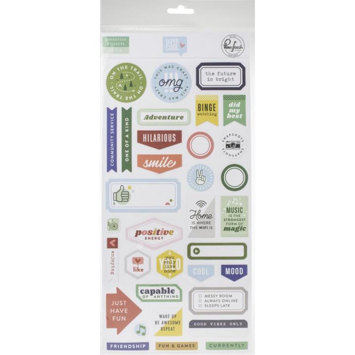 Наліпки Pinkfresh Studio Super Cool Cardstock Stickers Elements 70/Pkg