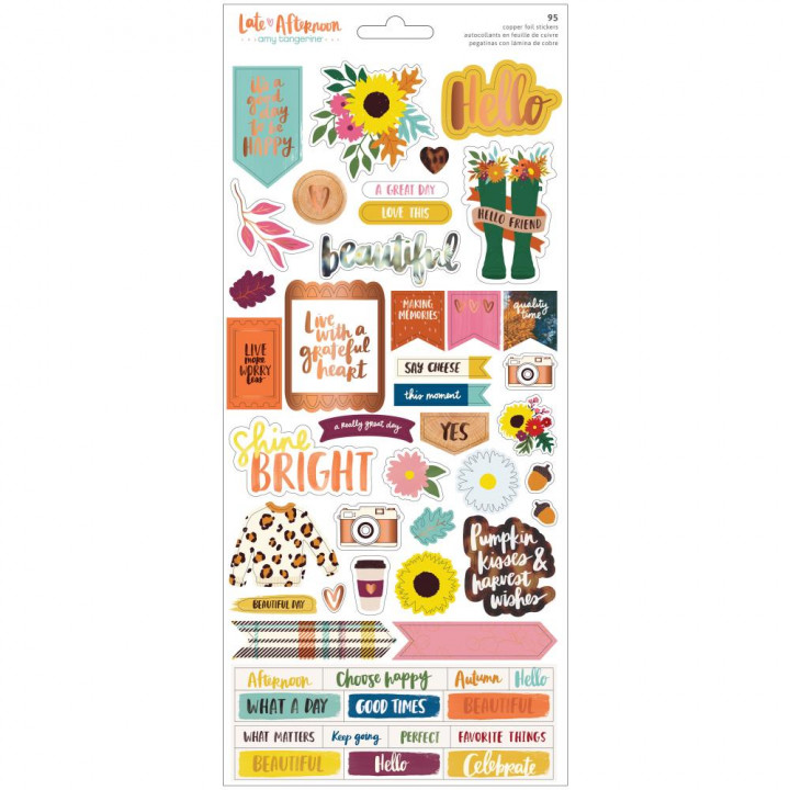 Наліпки American Crafts Amy Tan Late Afternoon Cardstock Stickers Elements 95/Pkg