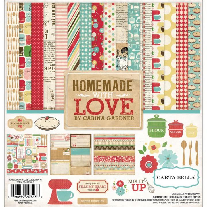 Набір паперу 30*30см Carta Bella Collection Kit Homemade With Love 12/Pkg