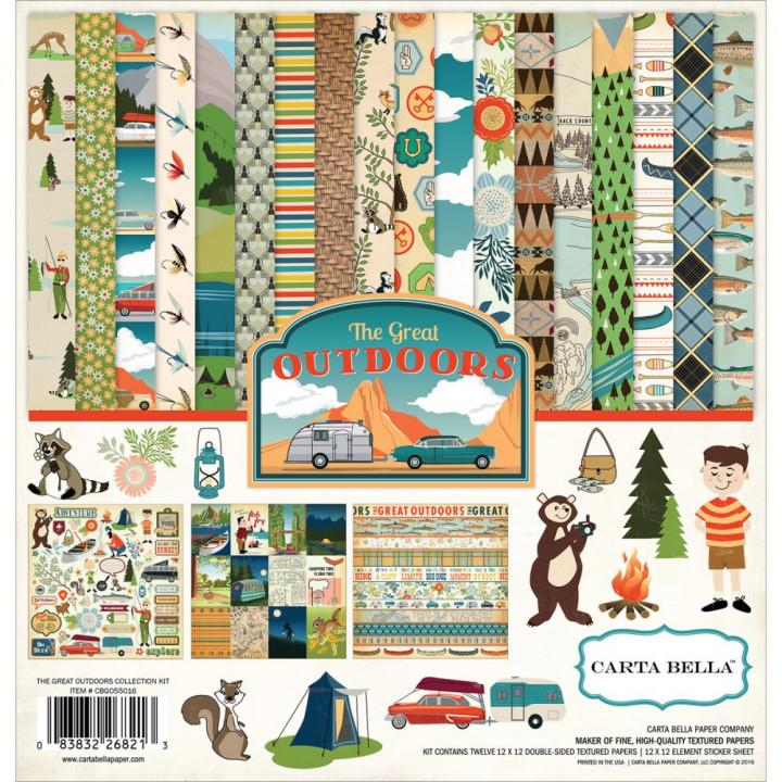 Набір паперу 30*30см Carta Bella Collection Kit Great Outdoors 12/Pkg
