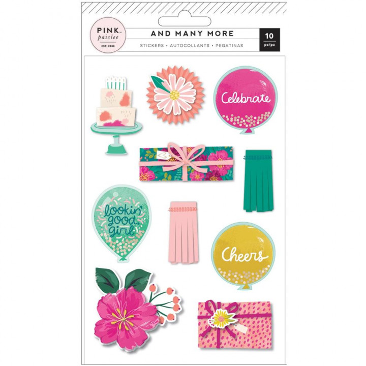 Наліпки Pink Paislee And Many More Layered Stickers Elements 10/Pkg