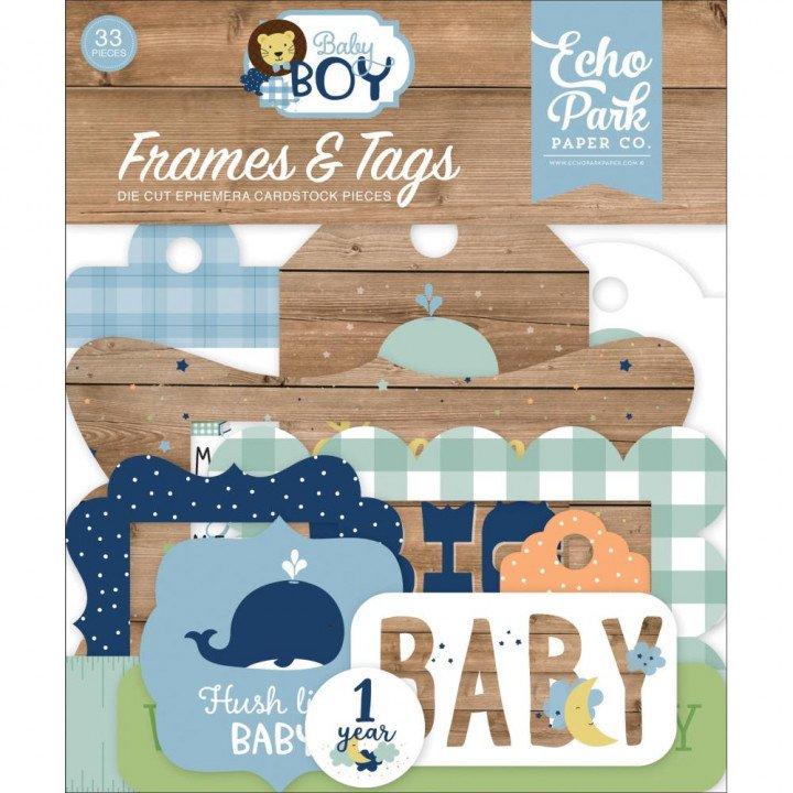 Висічки Echo Park Frames & Tags Baby Boy 33/Pkg