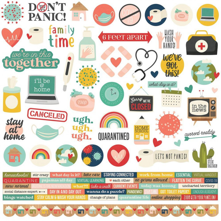 Наліпки Simple Stories Quarantined Cardstock Stickers Elements 30*30см