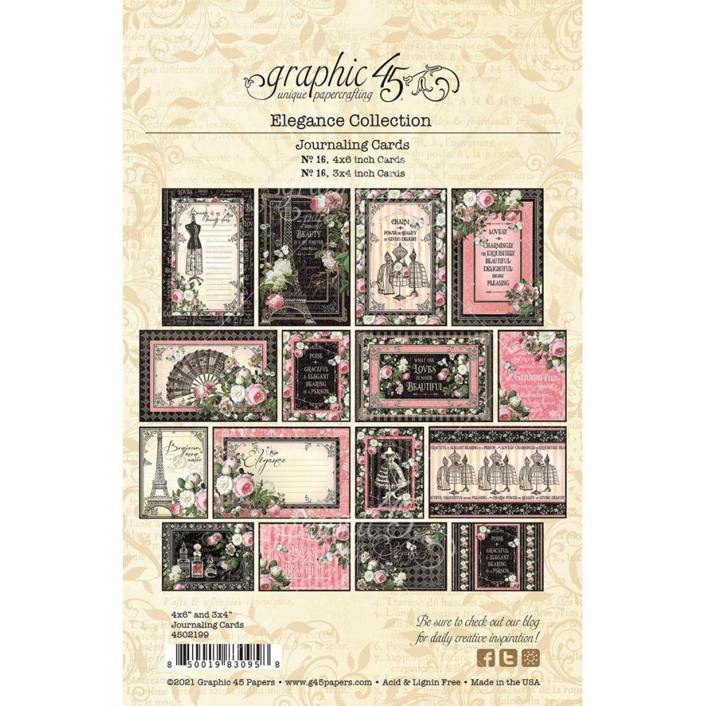 Graphic 45 Elegance Ephemera and Journaling Cards  32pk