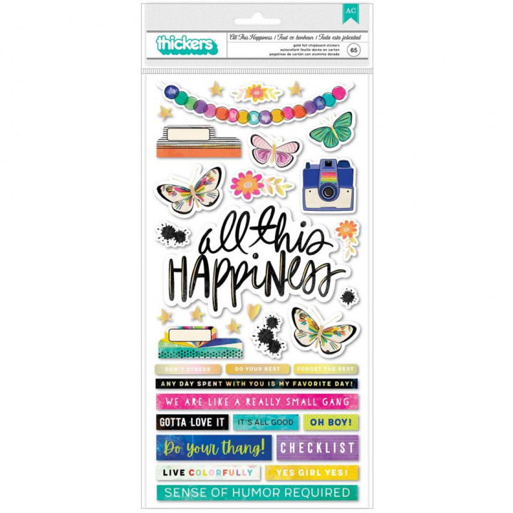 Наліпки American Crafts Color Study Thickers Stickers Elements 65/Pkg