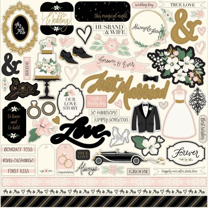 Наліпки Echo Park Wedding Day Cardstock Stickers Elements 30*30см
