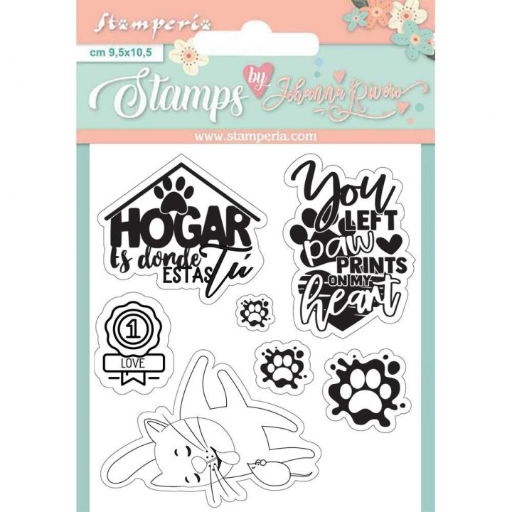 Штампи Stamperia Cat & Labels, Circle Of Love 9,5*10,5см