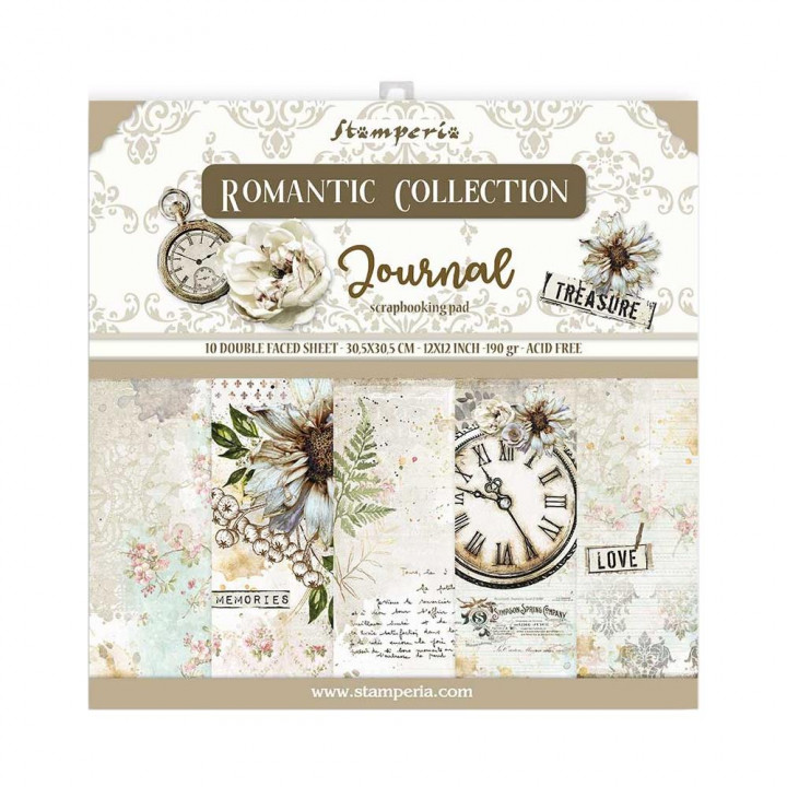 Набір паперу 30*30см Stamperia Romantic Journal 10/Pkg