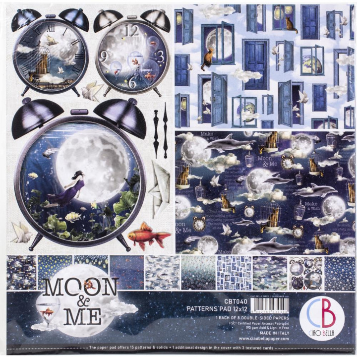 Набір паперу 30*30см Ciao Bella Paper Pack 90lb Moon & Me 8/Pkg