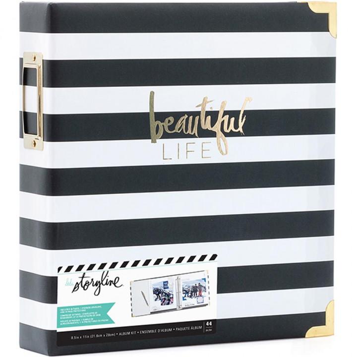 Альбом Heidi Swapp Storyline2 D-Ring Black Stripe 22*28см