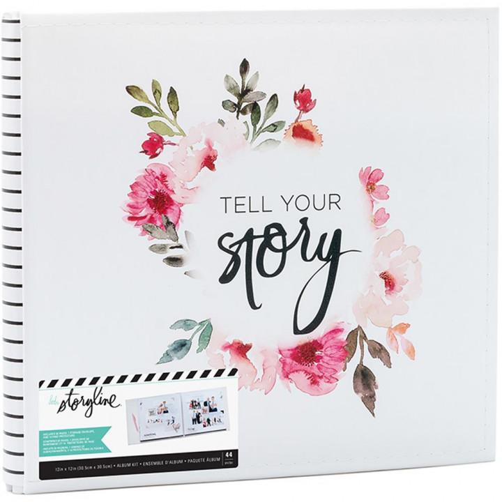 Альбом Heidi Swapp Storyline2 Post Bound White Floral 30*30см