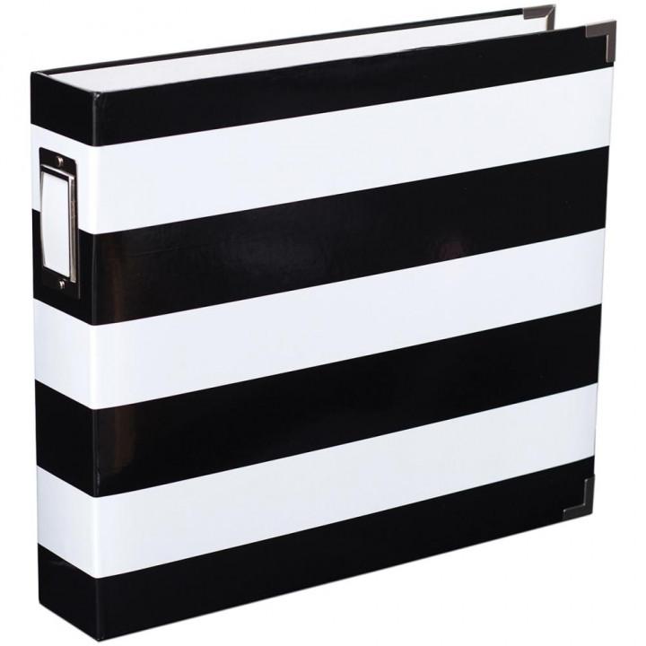 Альбом Heidi Swapp Project Life D-Ring Black & White Stripe 30*30см