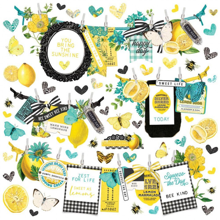 Наліпки Simple Stories Simple Vintage Lemon Twist Banners Cardstock Stickers Elements 30*30см