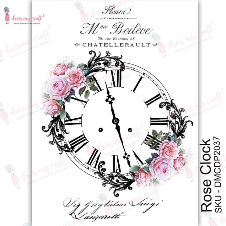 Трансфер Dress My Craft Transfer Me Sheet A4 Rose Clock