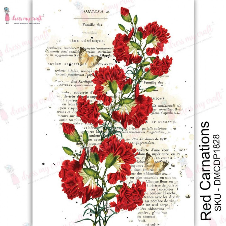 Трансфер Dress My Craft Transfer Me Sheet A4 Red Carnations