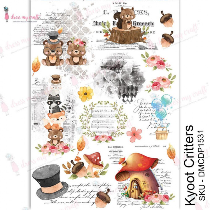 Трансфер Dress My Craft Transfer Me Sheet A4 Kyoot Critters