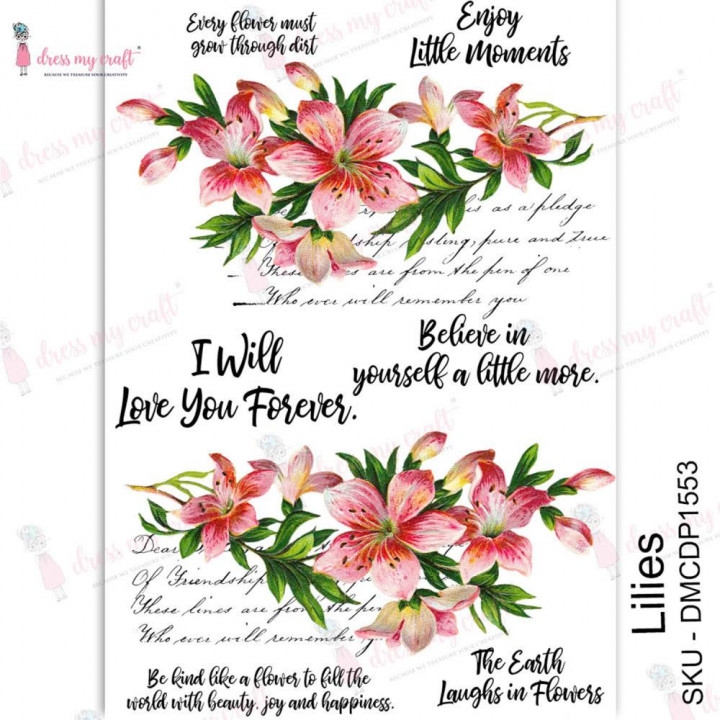 Трансфер Dress My Craft Transfer Me Sheet A4 Lilies