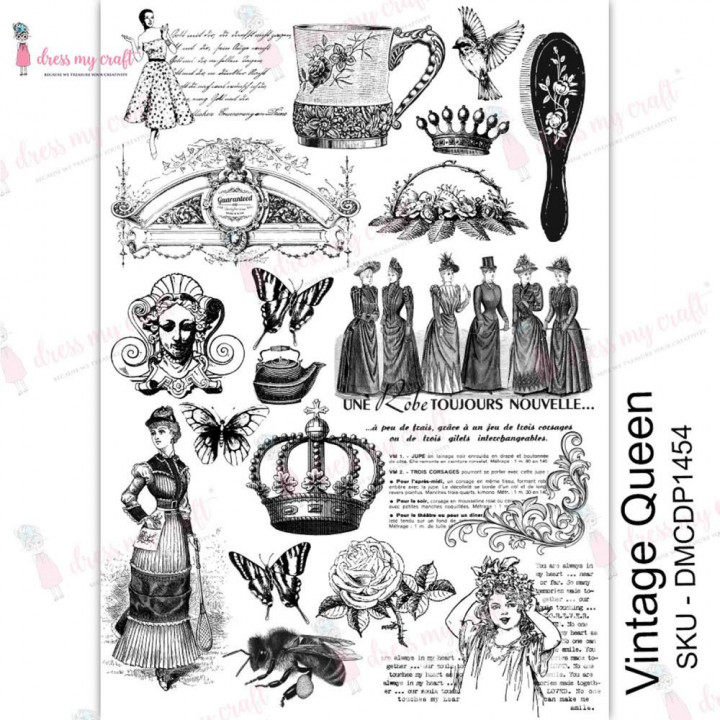 Трансфер Dress My Craft Transfer Me Sheet A4 Vintage Queen