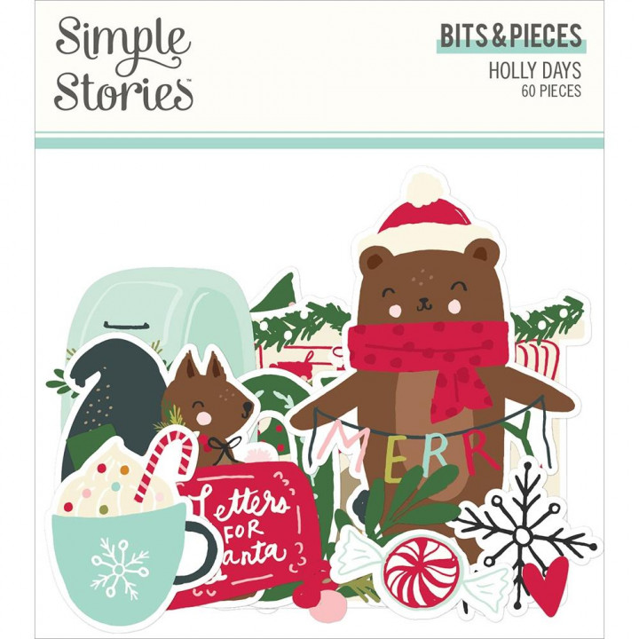 Висічки Simple Stories Holly Days Bits & Pieces Die-Cuts 60/Pkg
