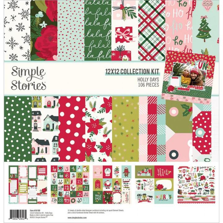 Набір паперу 30*30см Simple Stories Holly Days 12/Pkg