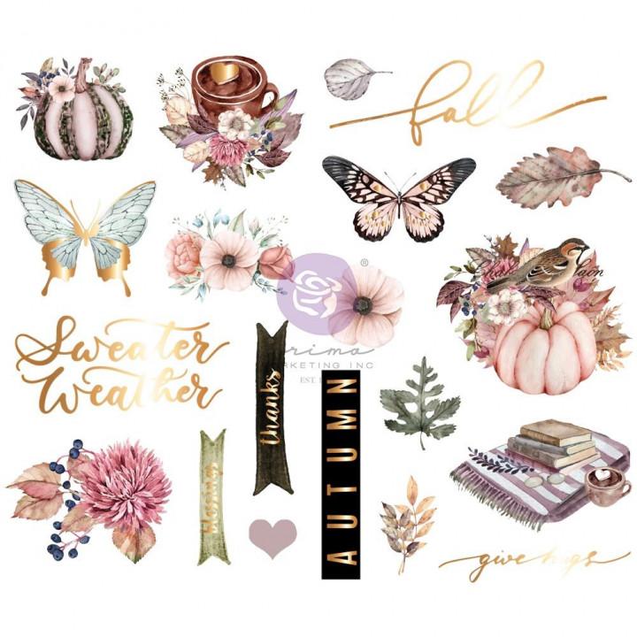 Наліпки з чіпборду Prima Hello Pink Autumn Chipboard Stickers 20/Pkg