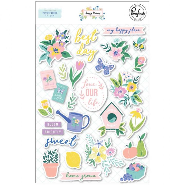 Наліпки Puffy Pinkfresh Studio Days Happy Blooms 27/Pkg