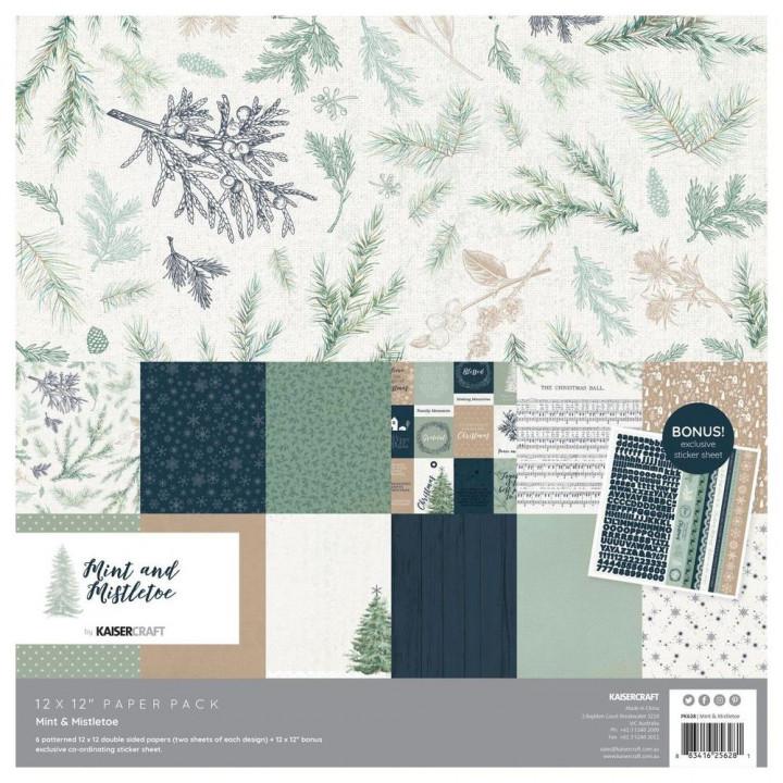 Набір паперу 30*30см Kaisercraft Mint & Mistletoe 12/Pkg
