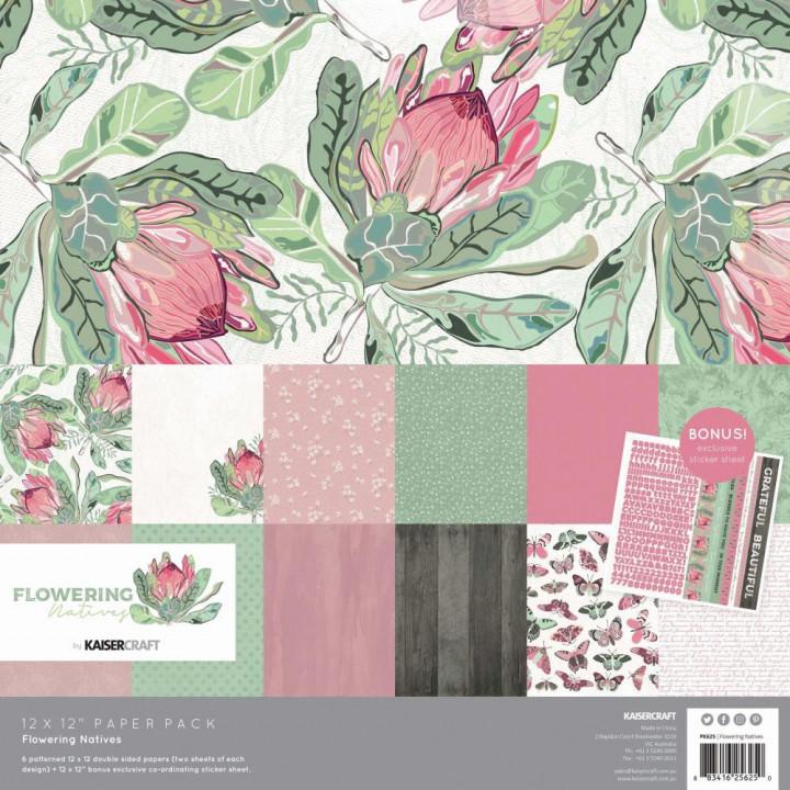 Набір паперу 30*30см Kaisercraft Flowering Natives 12/Pkg