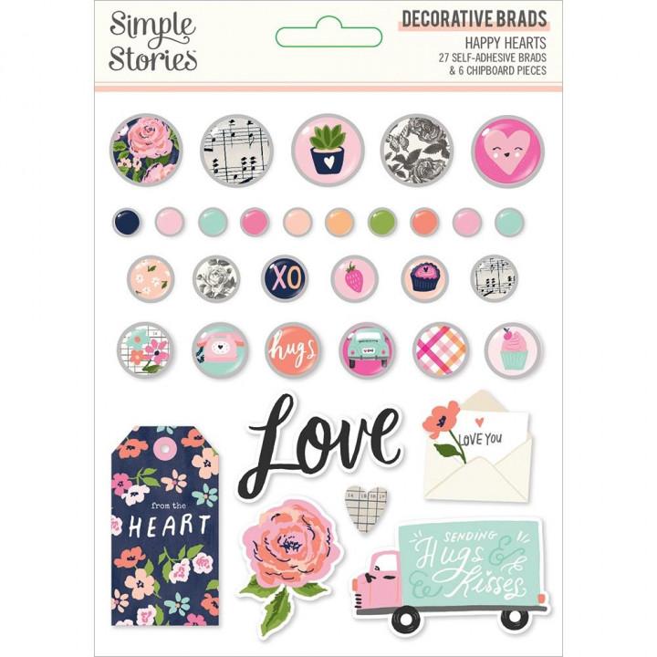 Брадси Simple Stories Happy Hearts 33/Pkg