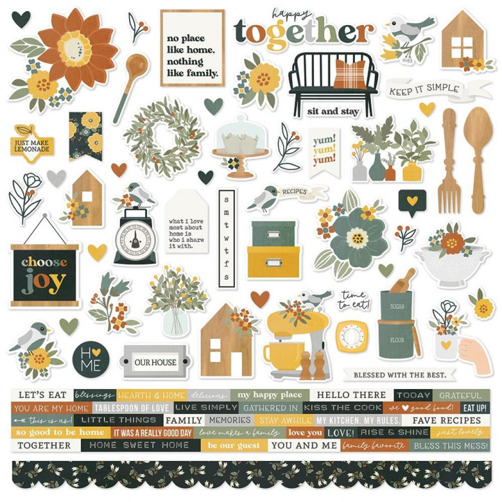 Наліпки Simple Stories Hearth & Home Cardstock Stickers Elements 30*30см