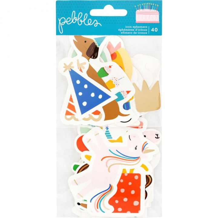 Висічки Pebbles Icons Happy Cake Day 40/Pkg