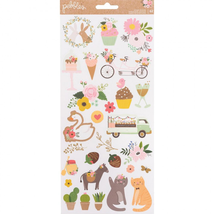 Наліпки Pebbles Lovely Moments Cardstock Stickers Elements 30*30см
