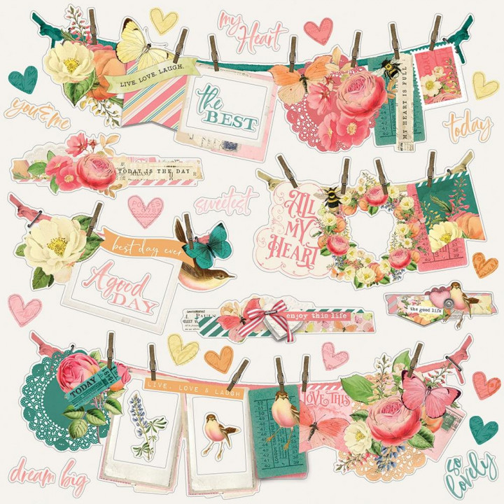 Наліпки Simple Stories Simple Vintage Garden Cardstock Banners Stickers Elements 30*30см