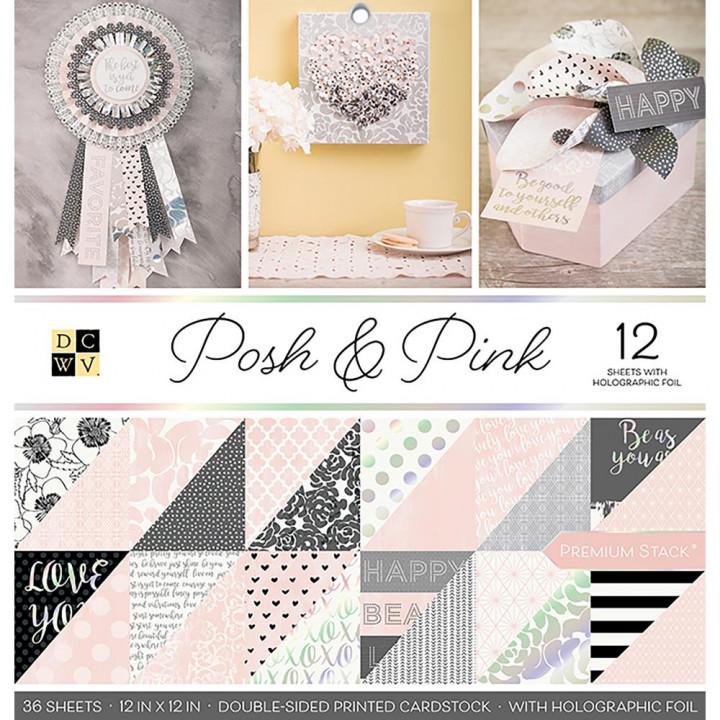 Набір паперу DCWV Posh & Pink, 36 аркушів